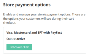 Activate the Visa, mastercard and eft payment option on your website