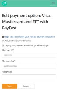 Enter your Merchant ID, Merchant Key and Passphrase