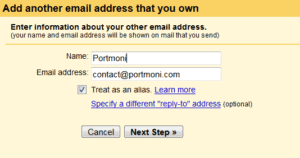 Send email from custom domain - Add another email that you own - Step 1