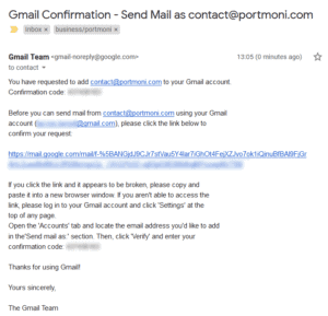 Send email from custom domain - Gmail confirmation email