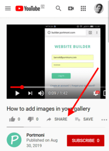 Locate the share button in YouTube