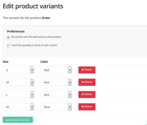 Example of product options and variants