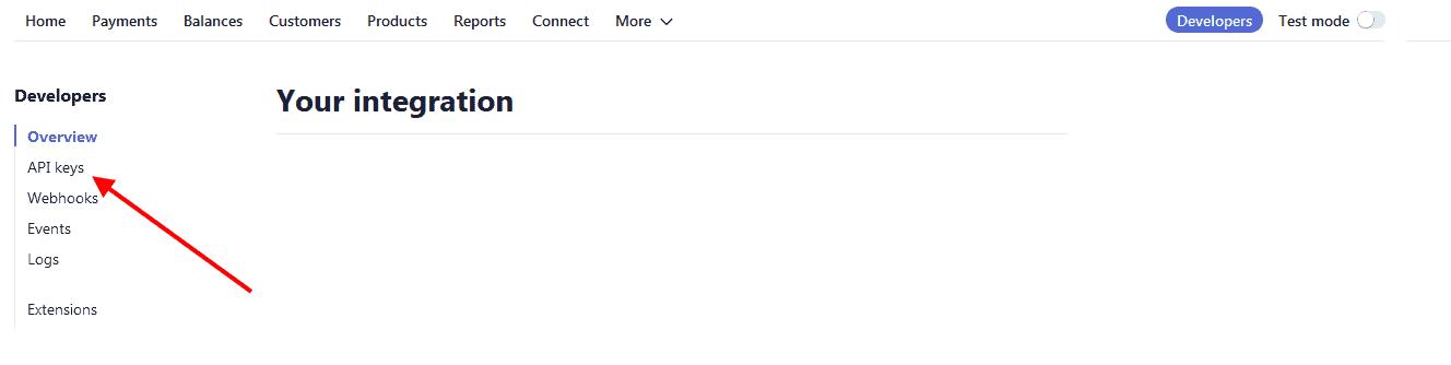 Click on Stripe API Keys